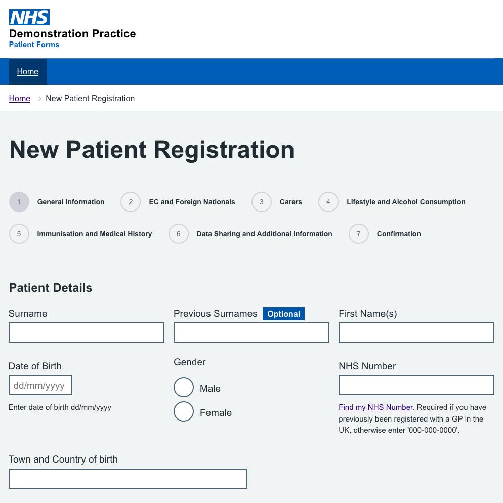 Secure Patient Forms website screenshot