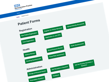 Secure Patient Forms website screenshot (Small)